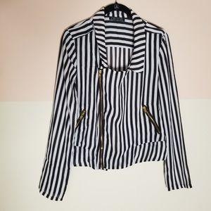 Love Culture black & white striped top-sz.L
